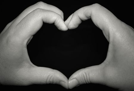 Heart shaped hands in black and white Stock Photo - 4660553