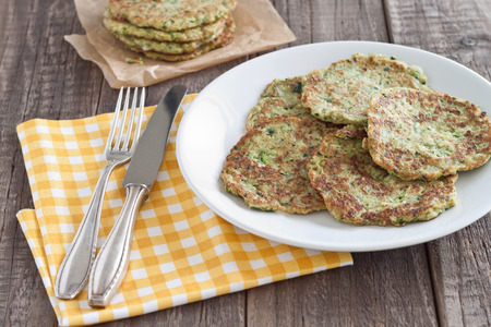 fritter: Zucchini fritter served on a plate Stock Photo