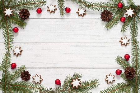 christmas spice: Christmas background with fir tree and Christmas cookies Stock Photo
