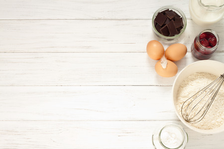 chocolate eggs: Ingredients for baking a cake, top view