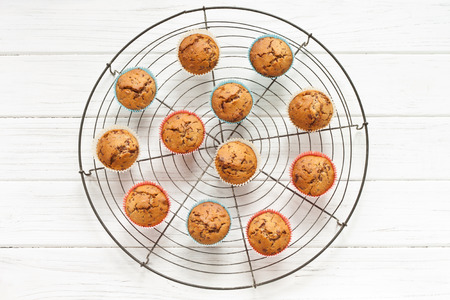 grid: Muffins on a grid Stock Photo