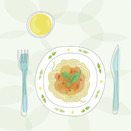 Pasta with tomato sauce on plate with drink and cutlery. Hand drawn vector design graphic. Healthy meal, dinner or lunch, view from above. Vegetarian or vegan food.
