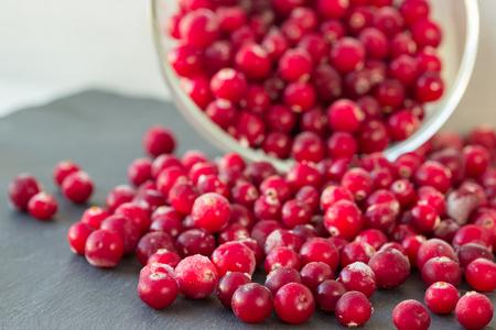 arandanos rojos: A glass bowl with red cranberries on grey background. Selective focus. Foto de archivo