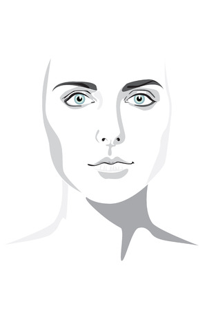 wrinkly: Beautiful woman face hand drawn illustration