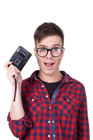 young man with camera photo