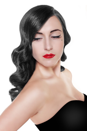 red eyes: brunette woman with red lips and vintage hairstyle isolated on white