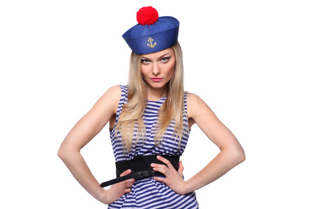 beautiful young blond woman dressed as a sailor isolated on white background