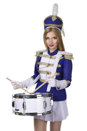 beautiful blond woman drummer  photo