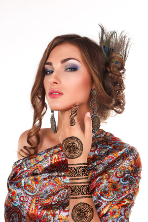 bunny girl: beautiful woman with henna tattoo mehendi