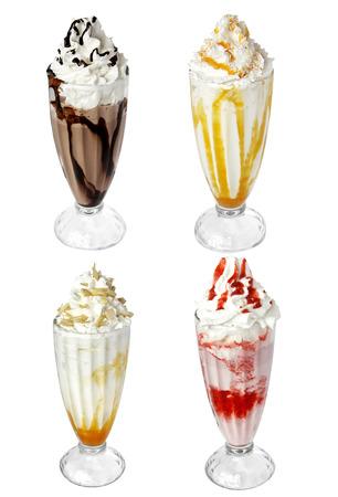 ice cream sundae: milk cocktail ice cream isolated on white background