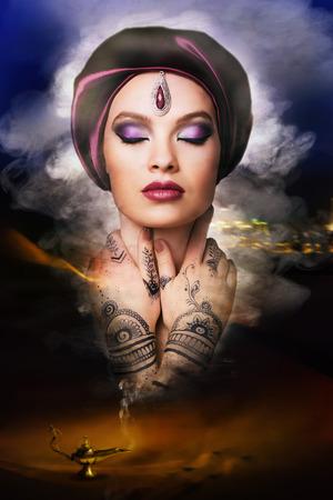 東洋の美しい若い女性のランプから魔神