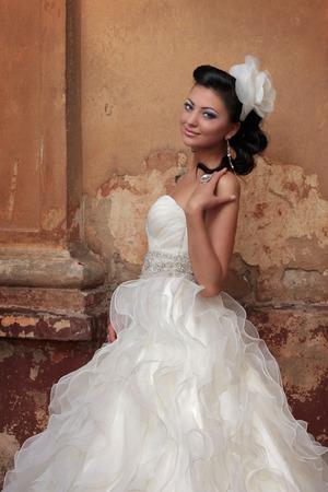 cinderella dress: beautiful brunette bride in antique style