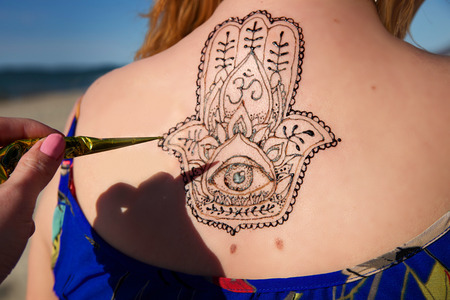 tattoo girl: henna tattoo mehendy on hand mandala