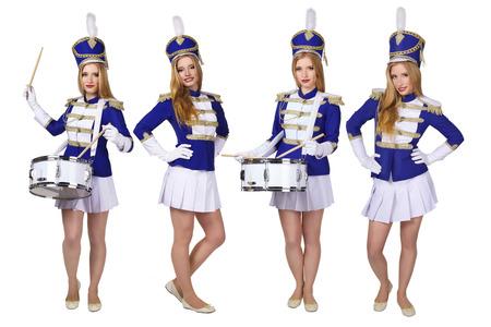 porrista: hermosa baterista cheerleade mujer rubia aisladas sobre fondo blanco