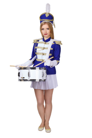 school girl uniform: beautiful blond woman cheerleade drummer isolated on white background Stock Photo