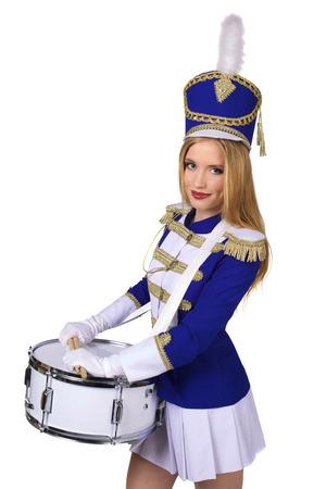 porrista: hermosa mujer rubia baterista majorette cheerleade aislado en fondo blanco