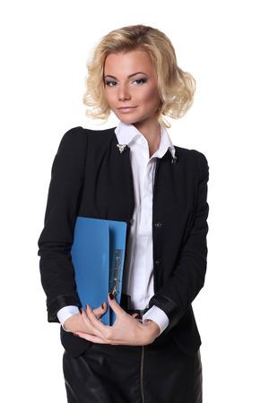 secretaria sexy: Mujer de negocios atractiva con un libro aislado en el fondo blanco