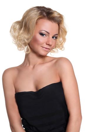 rubia: mujer rubia aisladas sobre fondo blanco