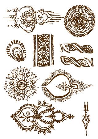 mendi: vector illustration mehendy, henna tattoo isolated in white background