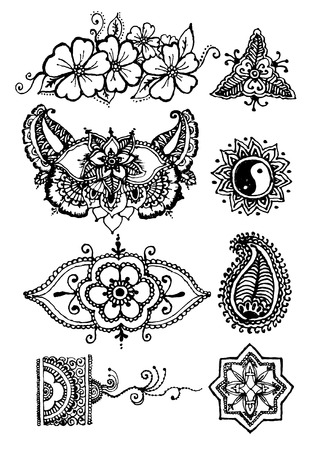 henna tattoo: vector illustration mehendy, henna tattoo isolated in white background