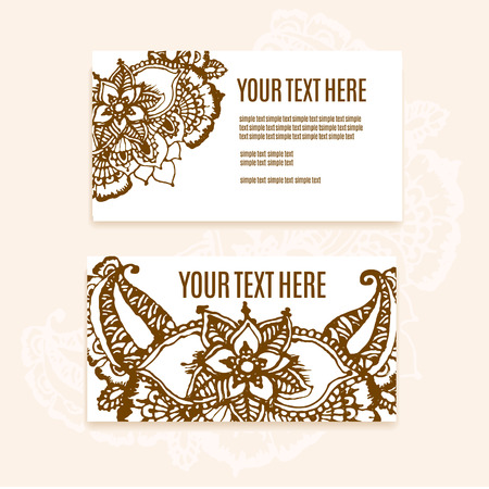 mendi: Vector floral illustration with indian ornament. Lace pattern for invitation or greeting card