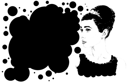 Beautiful retro woman, vector. Copy space.Illustration was created using circles.