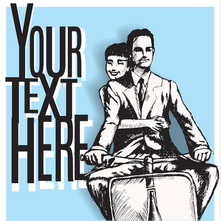 loving couple, man and woman riding scooter. vintage retro style. copy space. card template.