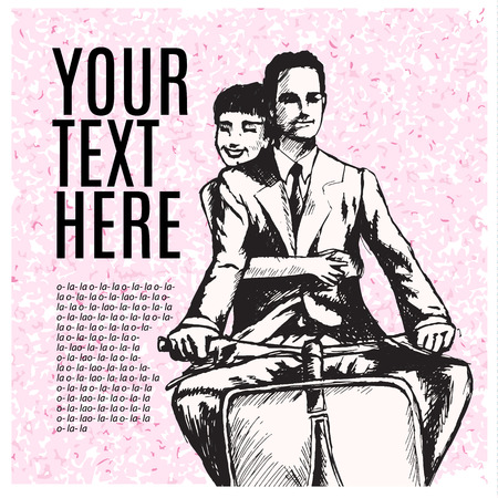 vespa piaggio: coppia di innamorati, l'uomo e la donna in sella a scooter. stile vintage retr�. copia spazio. modello di scheda. Vettoriali