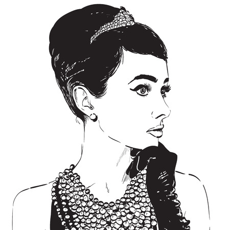 Beautiful retro woman, vector. Copy space. In little black dress with a gloves. Illustration