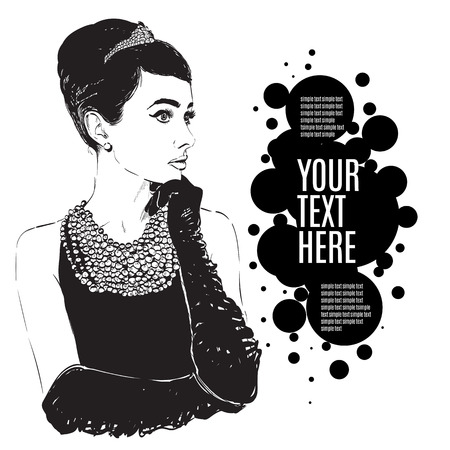 black dress: Beautiful retro woman, vector. Copy space. In little black dress with a gloves. Illustration