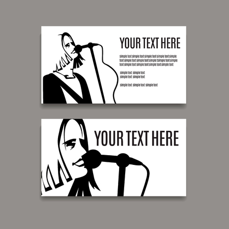 Man with long hair is singing in microphone. Card template. Çizim