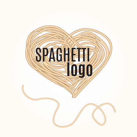 pizzeria label: Hand drawn doodle illustration of italian spaghetti. Abstract vector logo design template. Trendy concept for pasta label, restaurant menu, cafe, fast food, pizzeria. Illustration