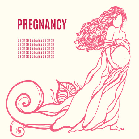 Vector illustration of Pregnant womans silhouette