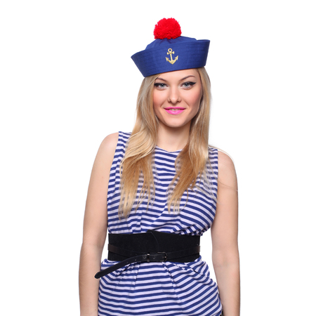flirtation: Young blond female sailor posing in her uniform and looking at the camera isolated on white background Stock Photo