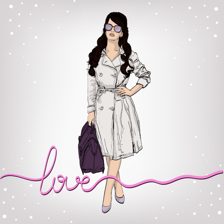 autumn woman: vector illustration of a woman in a retro style wearing a trench coat . copy space