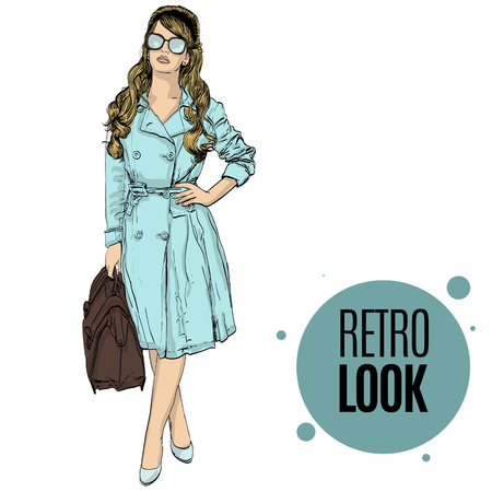 the trench: vector illustration of a woman in a retro style wearing a trench coat . copy space