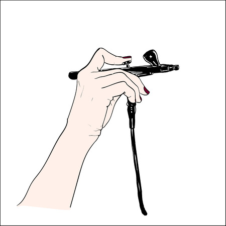airbrush: Hand holding a professional airbrush. can be used as logo. Illustration