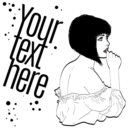 brunet: vector illustration of a woman brunet in a retro style wearing a skirt and blouse. Bob haircut . copy space Illustration