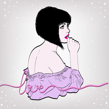 bob: vector illustration of a woman brunet in a retro style wearing a skirt and blouse. Bob haircut . copy space Illustration