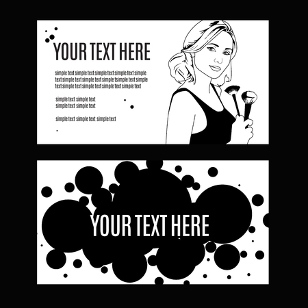 make up face: vector illustration of a woman holding makeup brush in her hand . template copy space for text .