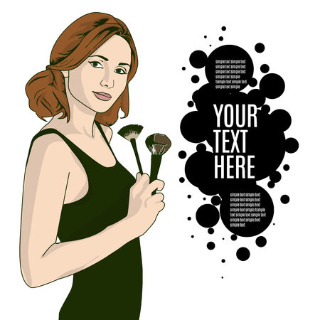 vector illustration of a woman holding makeup brush in her hand . template copy space for text .
