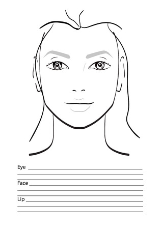 make up model: Face chart Makeup Artist Blank. Template. Vector illustration.
