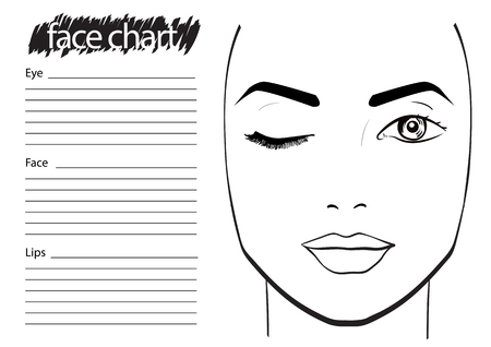 Face chart Makeup Artist Blank. Template. Vector illustration. Imagens - 61056421