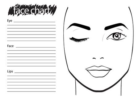 Gesichtsdiagramm Makeup Artist Blank. Vorlage. Vektor-Illustration. Standard-Bild - 61056421