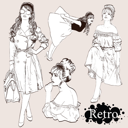 Vector set : fashion  ladies look in little black dress in 50s style Stock Photo