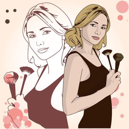 Vektor-Illustration einer Frau mit Make-up Pinsel in der Hand. Vorlage Kopie Platz für Text.