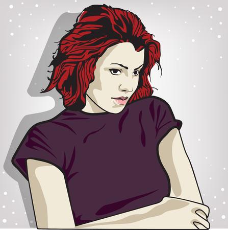 illustrazione vettoriale di una donna triste. copia spazio Vettoriali
