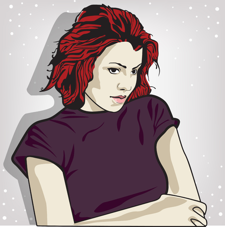 vector illustration of a sad woman . copy space