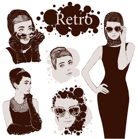 Vector set : fashion  ladies look in little black dress in 50s style Illustration