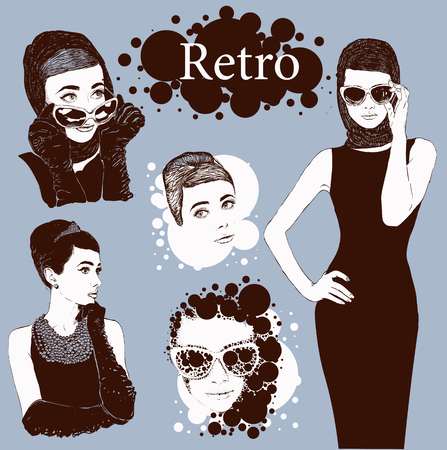 little black dress: Vector set : fashion  ladies look in little black dress in 50s style Illustration